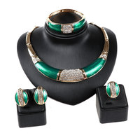 Hot Sale Full Rhinestone Green African Beads Jewelry Set Wedding Party Dress Accessories Fashion Costume Necklace