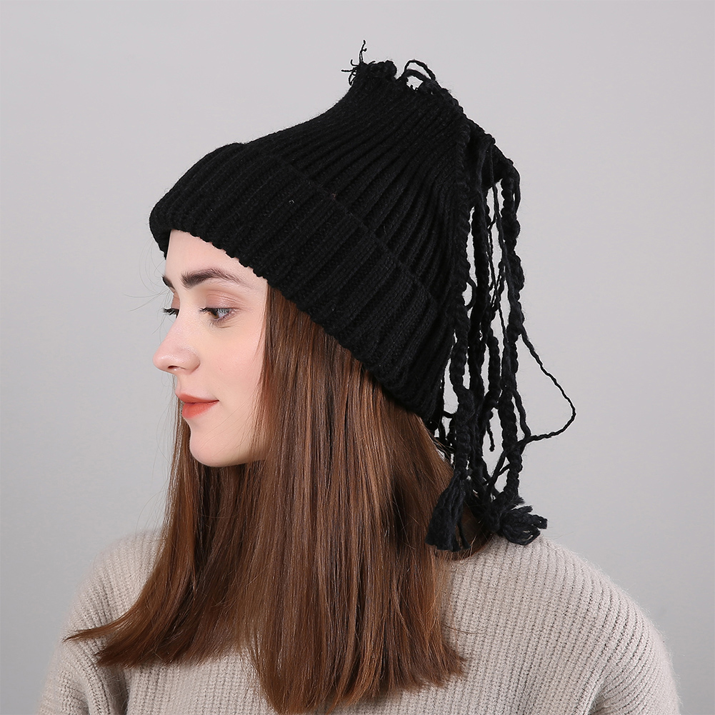 7d4453e5db1 Winter Knitted Wool Hat With Dreadlocks Straight Stripes Fashionable ...