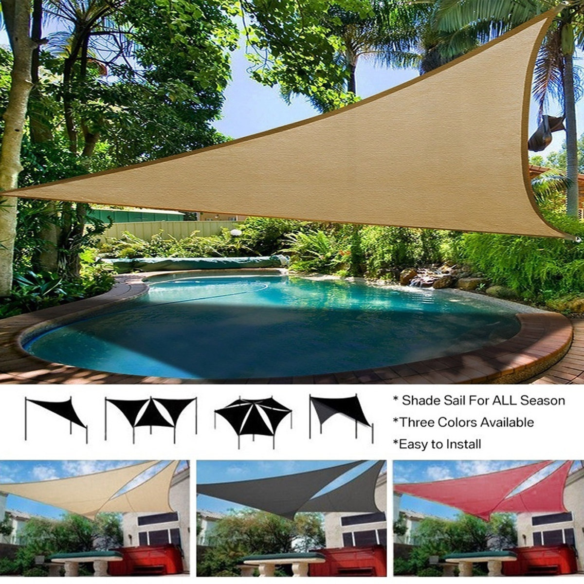 280GSM/300D HDPE Right Triangle Awning Shade Sail Sun ...