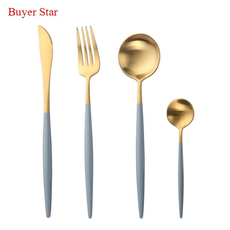 7 Colors 16pcs/Set Stainless Steel Cutlery Set Black Blue Noble Fork Knife Dessert Dinnerware Tableware Gold Food Silverware