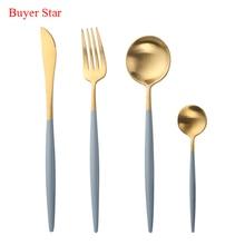 7 Colors 16pcs/Set Stainless Steel Cutlery Set Black Blue Noble Fork Knife Dessert Dinnerware Tableware Gold Food Silverware цена и фото