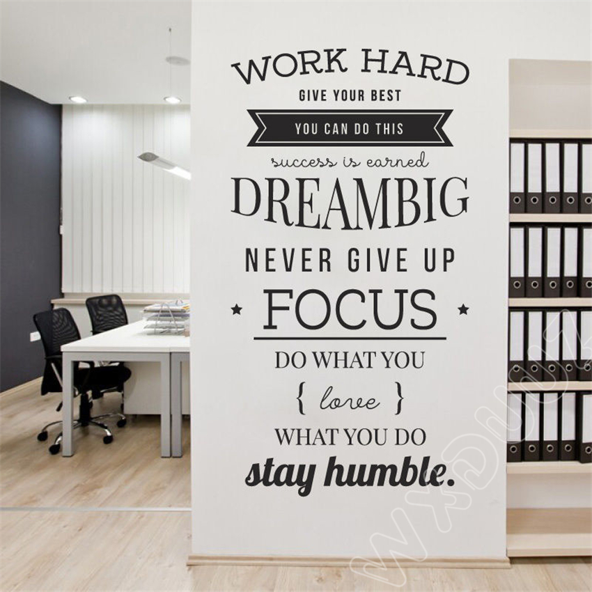 WXDUUZ Work Hard,Give Your Best, You Can Do This, Dream Big Office Conferen Removable Vinyl Wall Stickers Art Decor B285