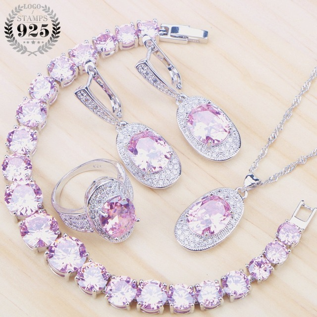Costume Bridal Jewelry Sets Women Pink Cubic Zirconia Silver 925 Jewelry With St