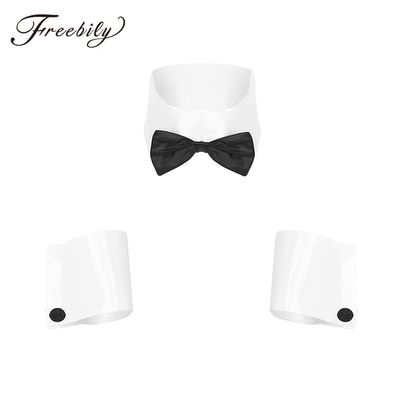 Bow Tie Bow Tie Collar and Cuffs Dress for Male Stripper Waiter Butler Great