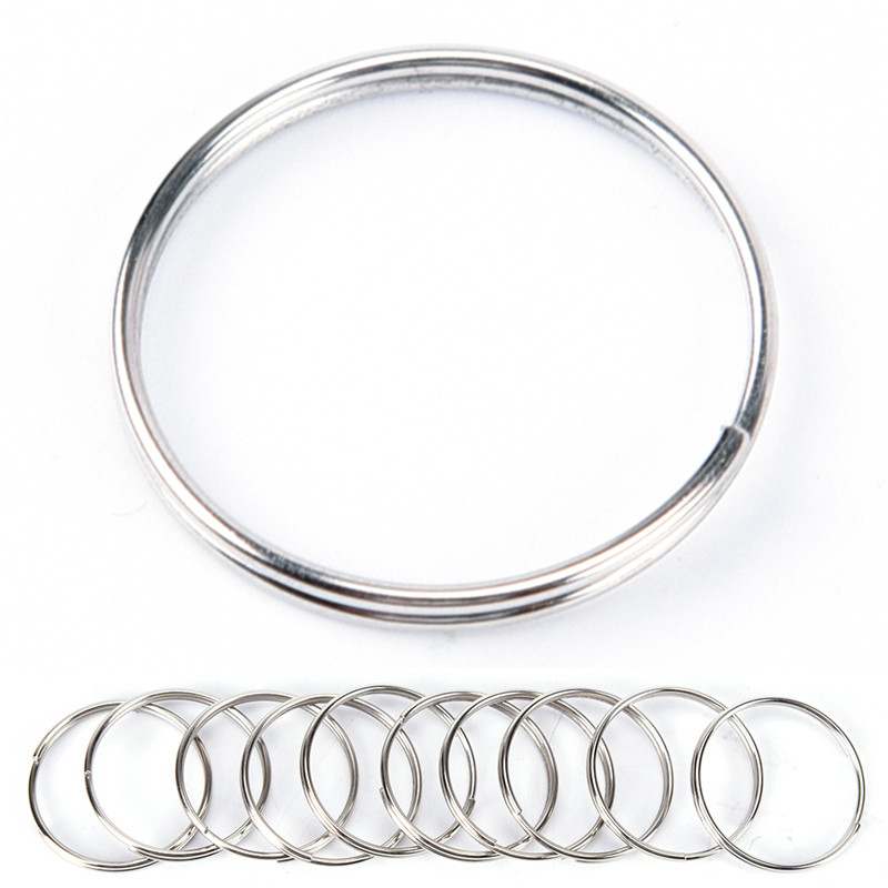 New 10pcs Steel Keyring Nickel Plated Steel Loop Split Key Rings Nickel Hoop Ring Newest Arrival 1.2*25mm
