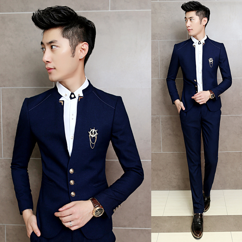 2017 new 2pcs set slim fit prom homme men costume wedding suits classic chinese collar. Black Bedroom Furniture Sets. Home Design Ideas