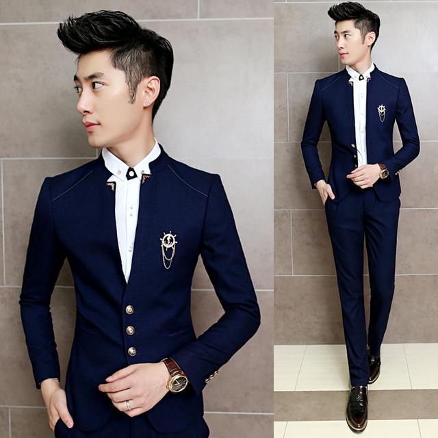 2017 Novo 2 Pçs/set Slim Fit Homens Homme Traje de Casamento do baile de Finalistas ternos Clássico Chinês Colar Vestido de Festa Ternos Meninos Jaqueta com calças