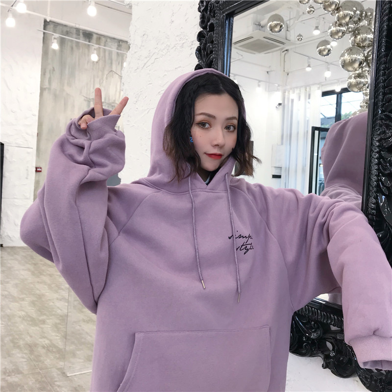 Hoodies Women Winter Elegant Trendy Leisure Hooded Solid Womens Pullover Students Letter Printed Long Sleeve Ladies Sweatshirts 6