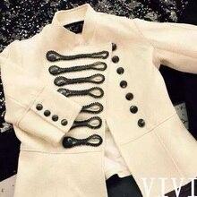 BMC11 lady Double breasted coat British Fashion women jacket/pearl beading jacket/wholesale brand star jacket coat/2color 5size