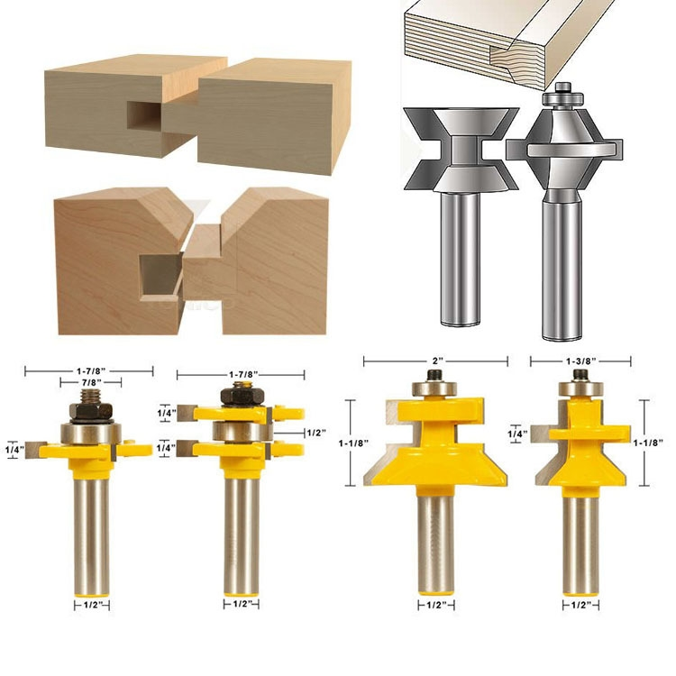 4 Bit Tongue & Groove and V-notch Router Bit Set - 1/2 Shank Line knife Woodworking cutter Tenon Cutter for Woodworking Tools high grade carbide alloy 1 2 shank 2 1 4 dia bottom cleaning router bit woodworking milling cutter for mdf wood 55mm mayitr