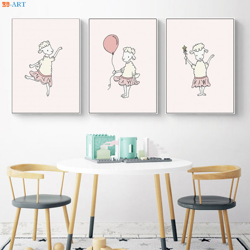 Us 3 56 40 Off Lamb Ballerinas Posters And Prints Cute Canvas Painting Pink Nursery Decor Children Art S Bedroom Decorative Pictures In