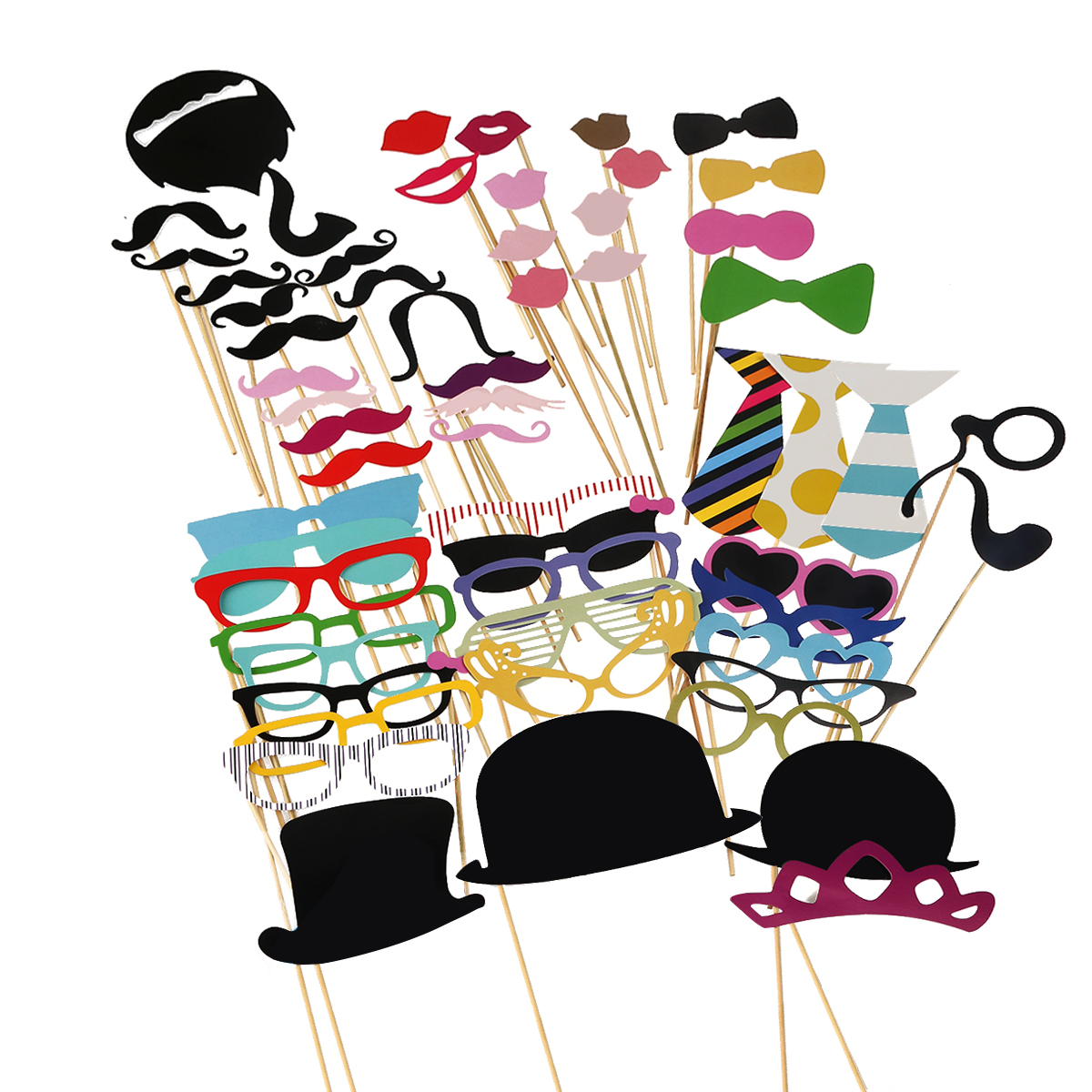 Color booth online - A Set Of 58pcs Diy Funny Colorful Glasses Moustache Red Lips Bow Tie Hats On Sticks Wedding Birthday Party Photo Booth Props