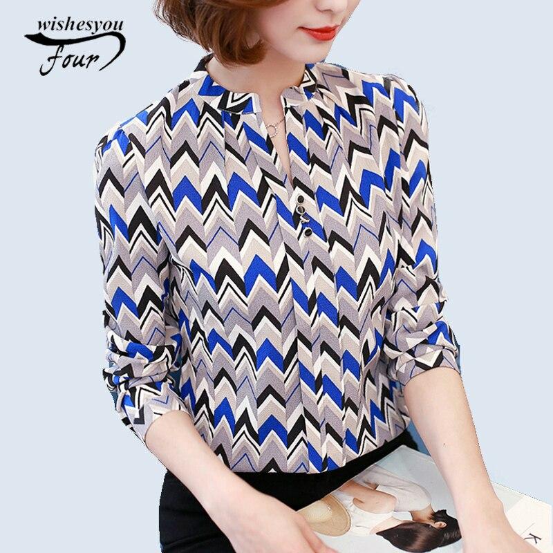 2016 New Work Wear Office Shirt Women Tops Yellow Floral Bow Tie Pattern Geometric Print Blouse Women Clothing Autumn  00A 30