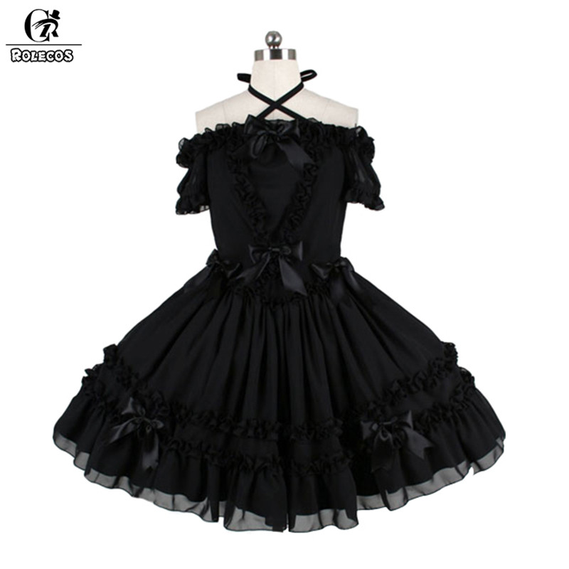 ROLECOS 2018 New Black Gothic Lolita Dress For Women A Word Shoulder Black Tube Dress With Bowknot Vintage Slim Hang Neck Dress