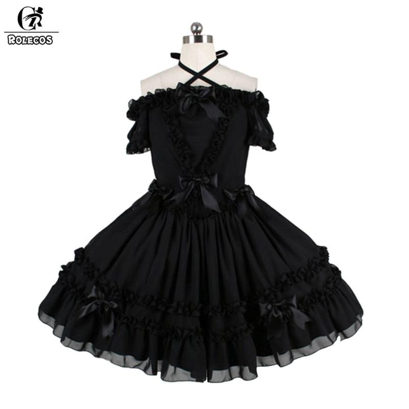 ROLECOS 2018 nouvelle robe Lolita gothique noire pour les femmes un mot épaule robe Tube noire avec nœud papillon Vintage mince robe de cou
