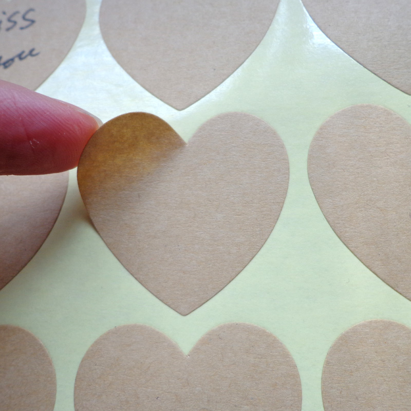 Gift Lables Stickers Seal-Labels Paper Wedding-Party-Decoration Heart-Shaped Kraft Blank