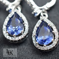 2017 Charm Dubai 925 Sterling Silver Jewelry For Women Engagement Wedding Water Drop Earrings Blue Gem Stone Earring Top Quality