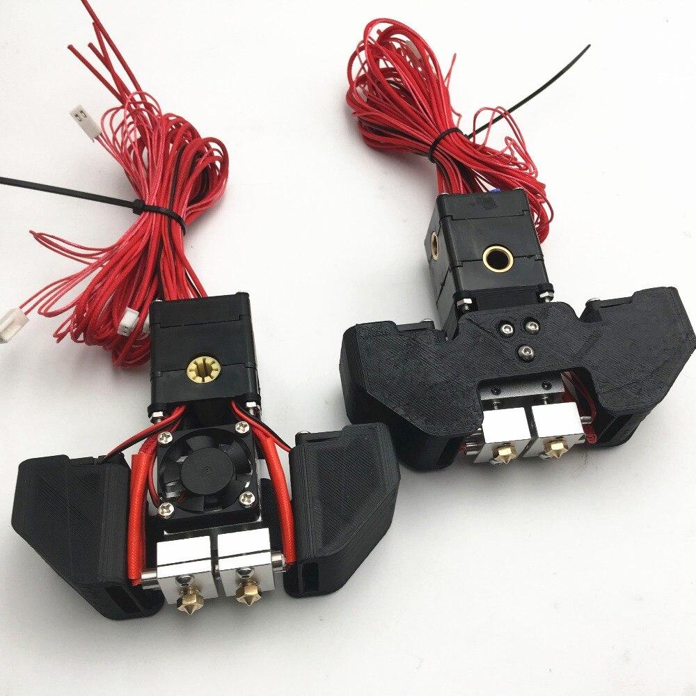 Conjunto Montado 1 2 + 3D Quimera impressora hotend Ultimaker kit Versão dupla extrusora PT100 2 2 entrada cabeça de extrusão 1.75 MILÍMETROS filamento