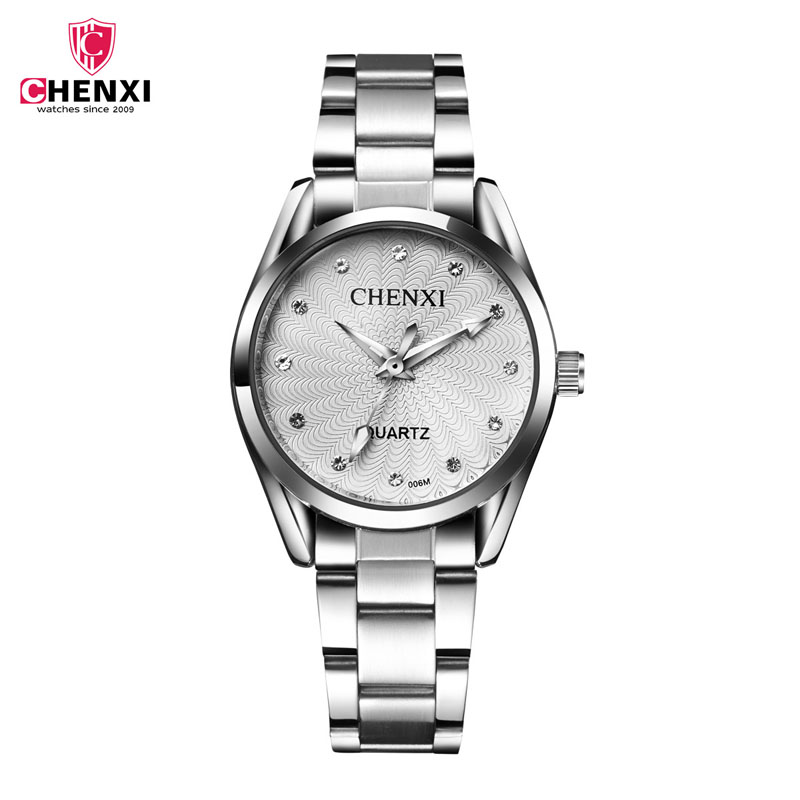 CHENXI Brand Elegant Women Business Quartz Watch Ladies Stainless Steel Rhinestone Clock Decoration Gift Relogio Feminino 45 chenxi fashion luxury quartz watch women dress stainless steel strap waterproof business casual ladies watches relogio feminino