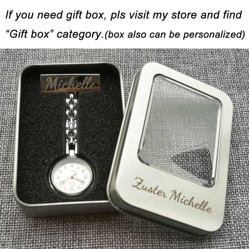 Персонализированные Индивидуальные Бесплатная гравировка с вашим именем лучшие качественные булавки брошь из нержавеющей стали нагрудные карманные часы Fob часы для медсестры