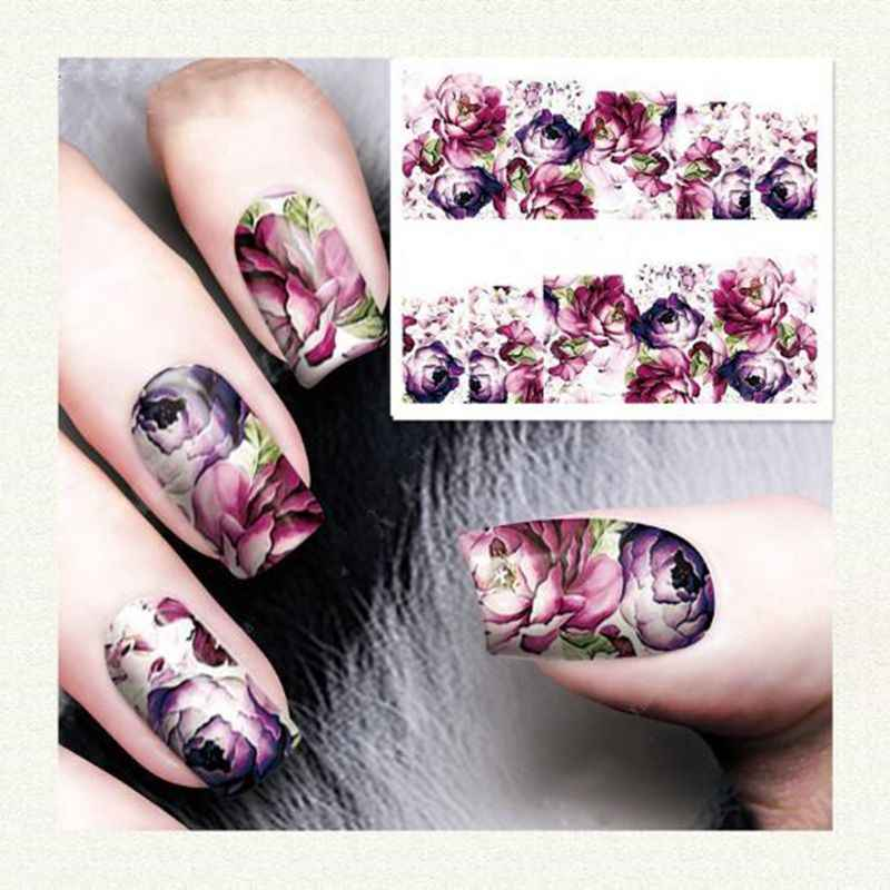 1 PC Nail Sticker Fashion Rose Bloem Nail Art Water Decals Transfer Stickers Tip Decoratie DIY voor Nagels Accessoires Meisjes nail