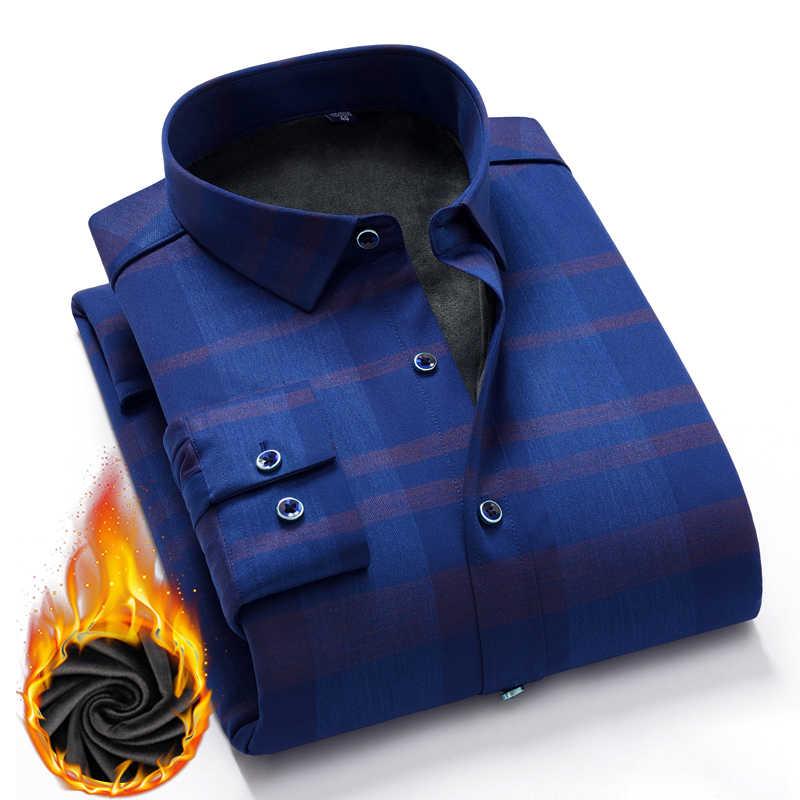 Рубашка мужские рубашки в стиле кэжуал зимние толстые теплые рубашки клетчатое однотонное гладкое эластичное платье рубашка Camisa masculina Chemise homme