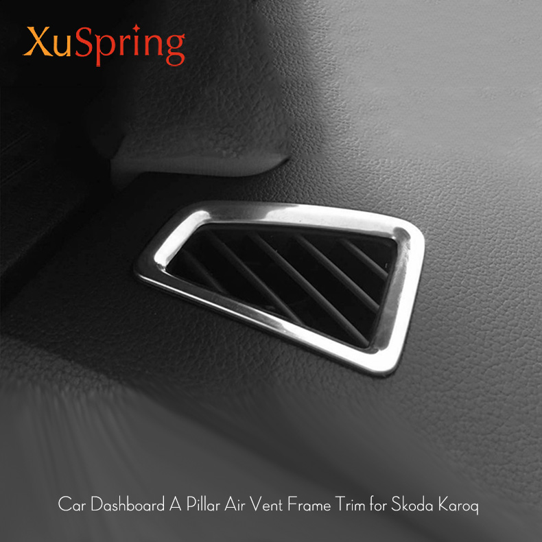 Car Dashboard A Pillar Air Outlet Vent Trim Frame Cover Sticker Car Styling 2Pcs/Set For Skoda Karoq 2017 2018