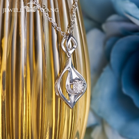 JEWELLWANG Shiny Diamond Pendants For Women 0 5ct Effect Certified Romantic Classic 18K White Gold Necklace
