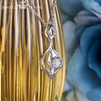 JEWELLWANG Shiny Diamond Pendants for Women 0.5ct Effect Certified Romantic Classic 18K White Gold Necklace Diamond Gift Pendant