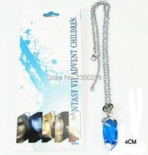 Cartoon Movie TV wholesale 5PCS A LOT Anime Final Fantasy Yuna necklace blue crystal cosplay