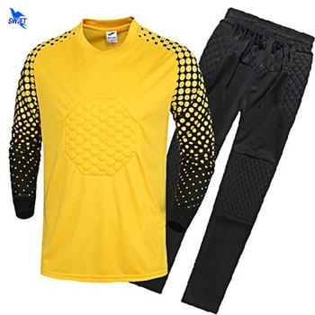 2018 19 nuevos niños portero DE FÚTBOL Camisetas De hombres esponja fútbol  manga larga portero uniformes Kits arquero traje de entrenamiento ca3adf6b1c14b