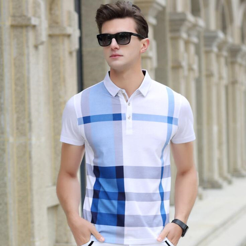 summer   polo   shirt Men's high quality clothing brand Short sleeve cotton Business casual Man Plaid lapel short sleeves for Men