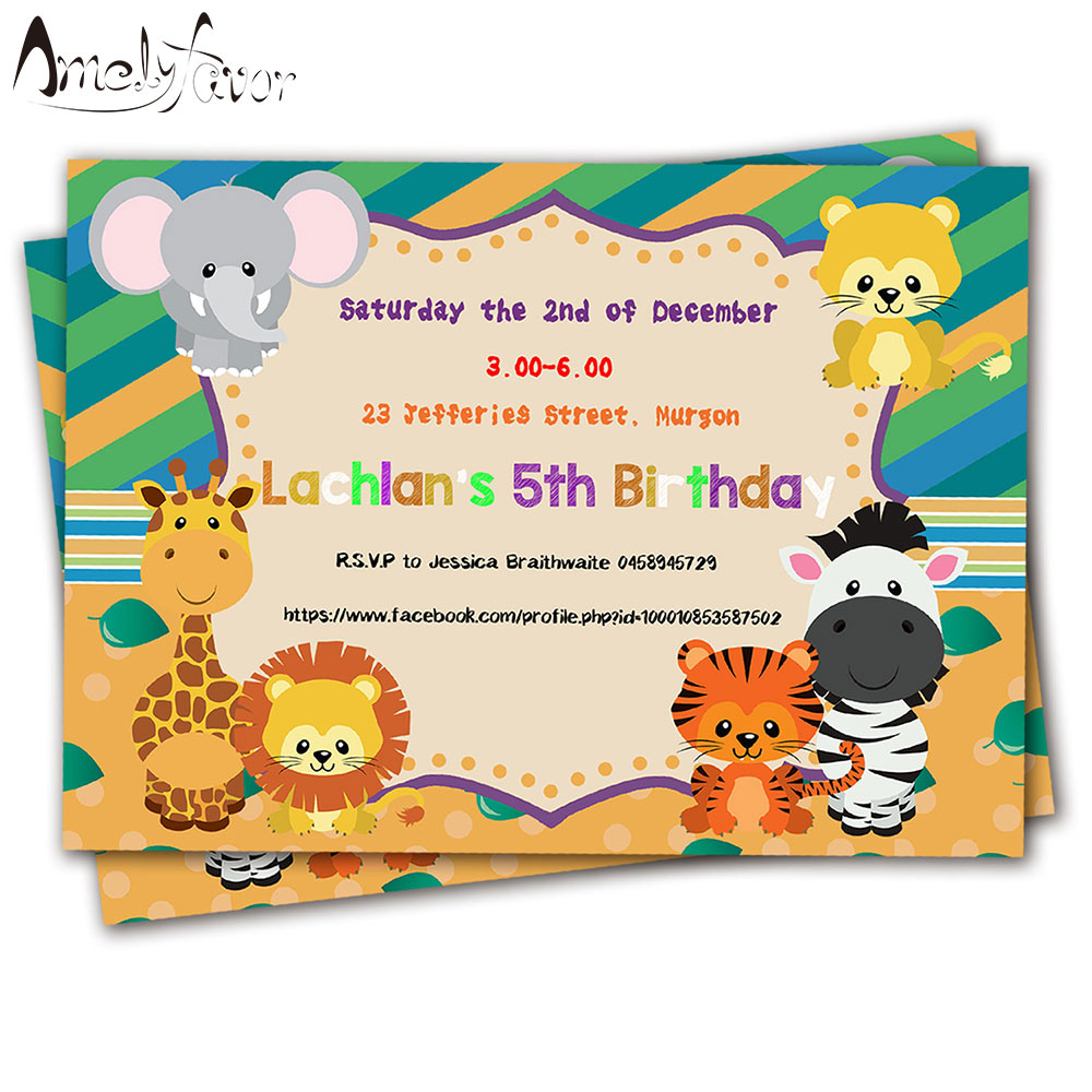 20PCS Safari Animals Theme Invitations Card Birthday Party Supplies ...