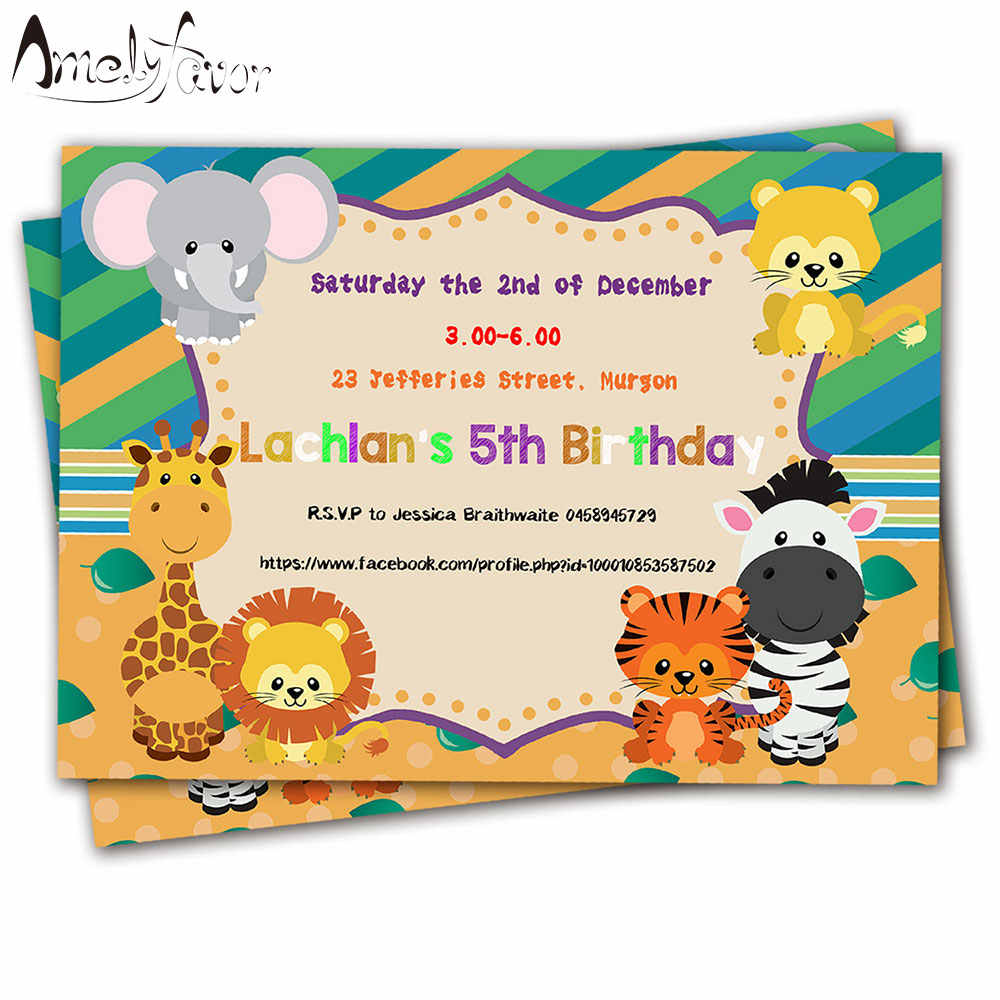 Detail Feedback Questions About 20PCS Safari Animals Theme Invitations Card Birthday Party Supplies Decorations Kids Event