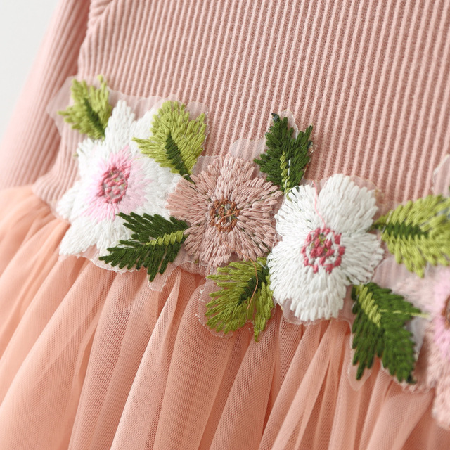 Girls' Cute Cotton Dress with Flowers