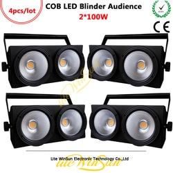 Litewinsune 4 sztuk 2Eyes * 100 W Blinder publiczność LED oświetlenie COB teatru wydajność 3200 K 5600 K konsoli DMX w Oświetlenie sceniczne od Lampy i oświetlenie na