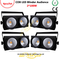 Litewinsune 4PCS 2Eyes*100W Blinder Audience LED COB Light Theater Performace 3200K 5600K DMX Console