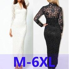 Spring Elegant Plus Size XXXL 4XL 5XL 6XL Women V neck Long White Black Lace font