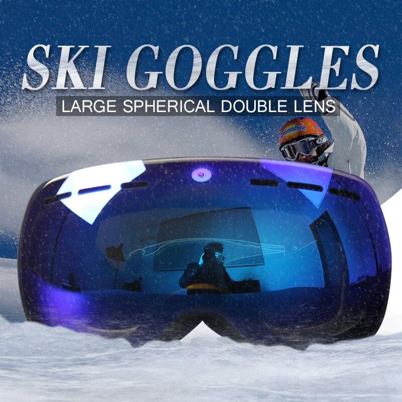 Hiver adulte hommes femmes double ski lunettes snowboard sphérique grand cadre lunettes anti-brouillard neige skydive lunettes sport d'hiver outil