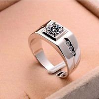 Free Shipping 925 Sterling Silver Ring For Men Fashion Jewelry Cubic Zirconia Crystal Imitation Diamonds Men