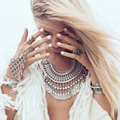 Yumfeel 2016 New Boho Vintage Jewelry Antique Silver Plated Boho Ring and Bracelet Set