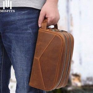 Image 1 - Trousse de toilette en cuir véritable vintage en cuir véritable pour hommes, sac de maquillage de voyage, sac de toilette à main