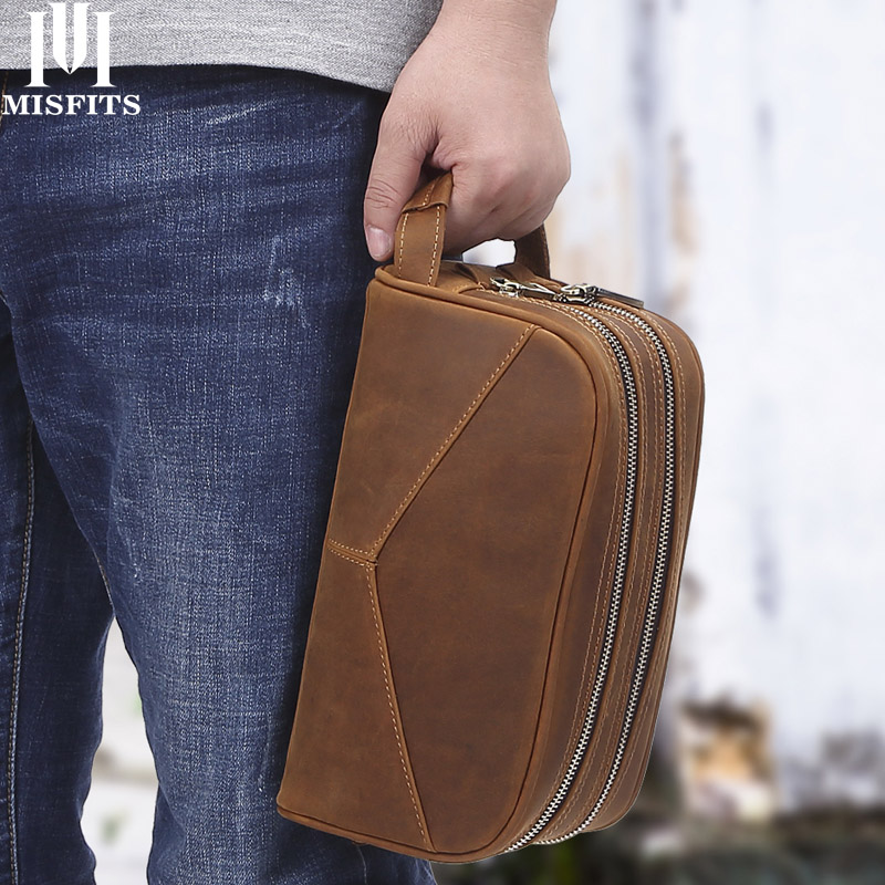 New Crazy Horse Leather Men's Cosmetic Case Vintage Genuine Leather Makeup Bag Travel Hand-held Wash Bag Toiletry Bag Organizer
