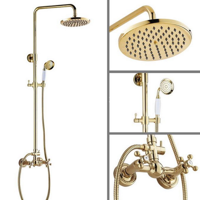 Two Cross Handles 8 Bath Rain Shower System with the Shower Head & Hand shower Set Faucet Mixer Tap Gold Color Brass agf334