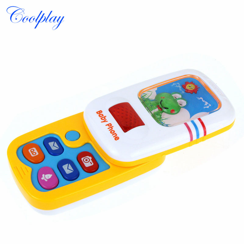 Slider Cartoon Phone Toy Children Educational Toy Mobile Cellphone Kids Learning Study Musical Sound Telephone Electric Toy Gift image
