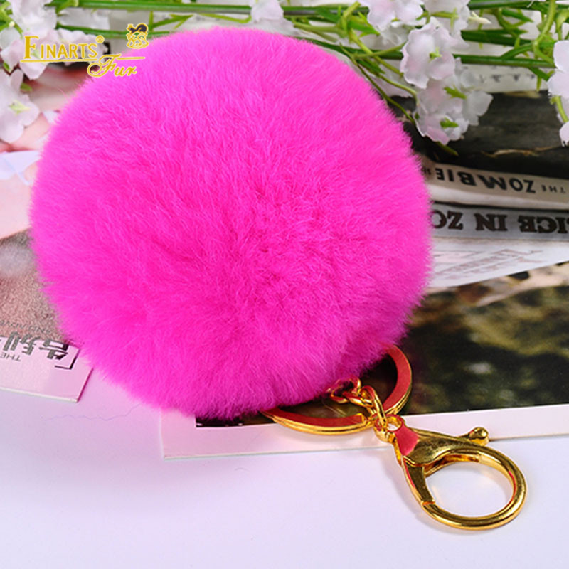 7-8cm Fluffy DIY Pompons 100% Real Rex Rabbit Fur PomPoms Solid Color Genuine for Bag Keychain Hair Shose Gloves Wholesale