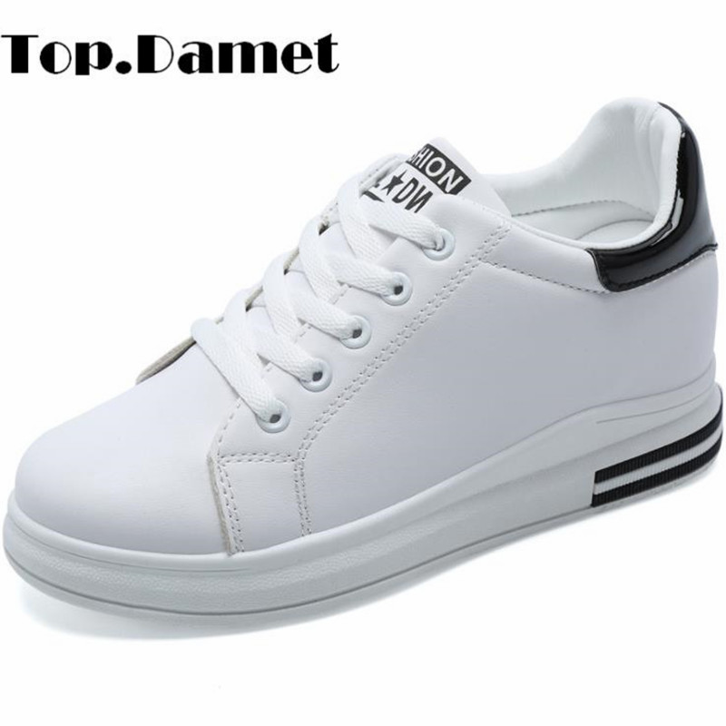 Top.Damet Women Sneakers Fashion Increased Internal Heel Lace Up Shoes Spring Autumn Casual Breathable Wedges Shoes for Girls