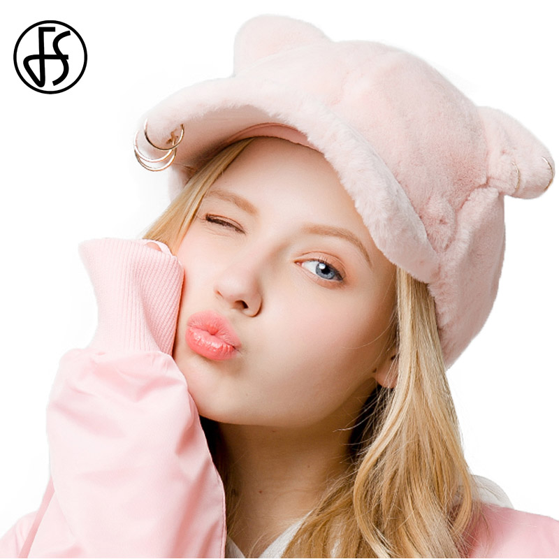 FS Autumn Winter Baseball Caps Pink Female Visor Hat With Ears Fashion Metal Ring Cap Cool Casual Snapback Casquette Femme female caps for autumn