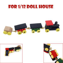 2018 Child Funny 4 Pieces Wood Christmas Train Colorful Decoration For Kids Gift Doll house Miniature Model Home Decor(China)