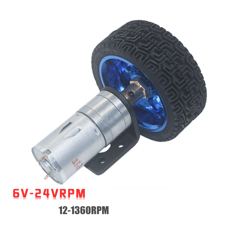 25GA370 <font><b>DC</b></font> <font><b>6V</b></font> 12V 24V <font><b>DC</b></font> <font><b>Motor</b></font> <font><b>Gear</b></font> 4mm Shaft + Mounting Bracket Coupling 65mm Wheel 12RPM~1360 RPM DIY Car Model <font><b>motor</b></font> image
